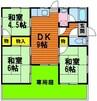 東岡山駅前貸家 3DKの間取り