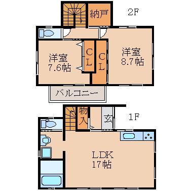 1・2階トイレ付き