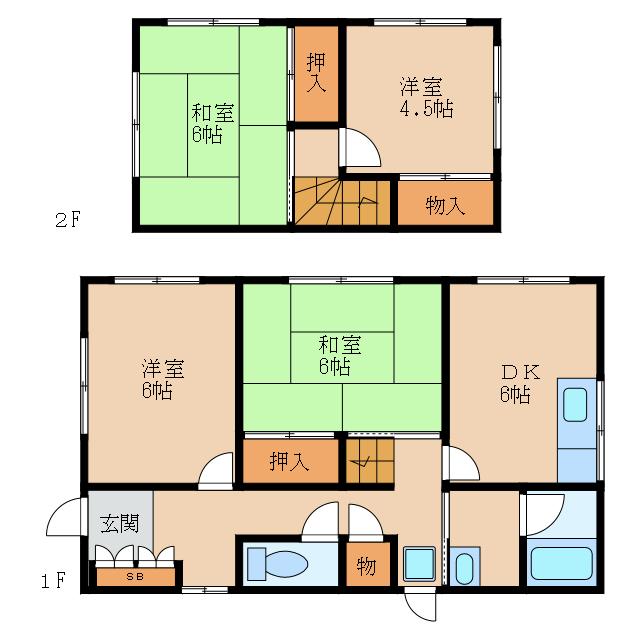 軽量鉄骨造の戸建貸家。和室・洋室2部屋づつ。2台駐車可。