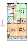 奥羽本線・山形線/山形駅 徒歩38分 4階 築41年 2DKの間取り