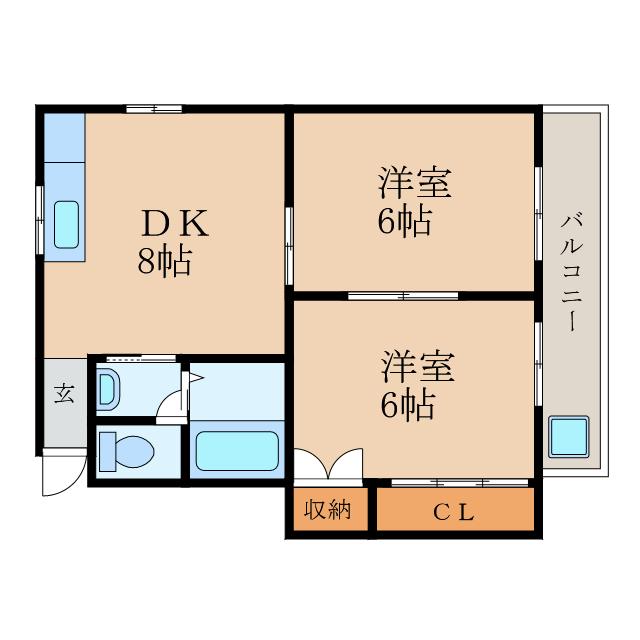 2DKのお部屋です