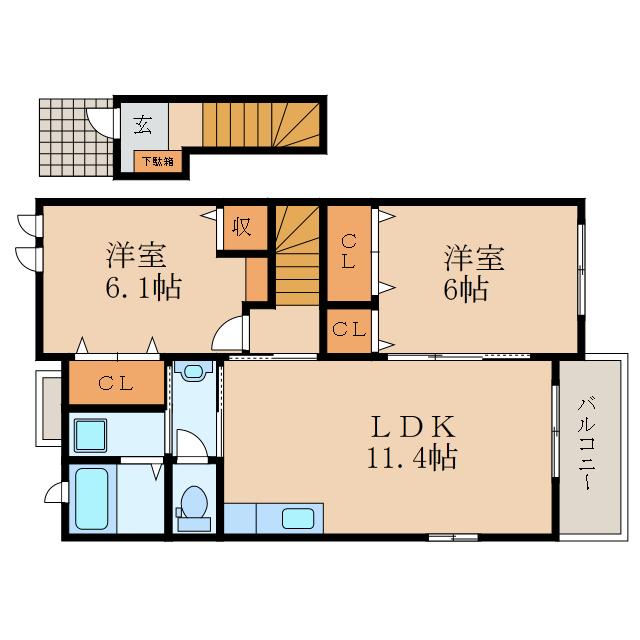 2LDKのお部屋です