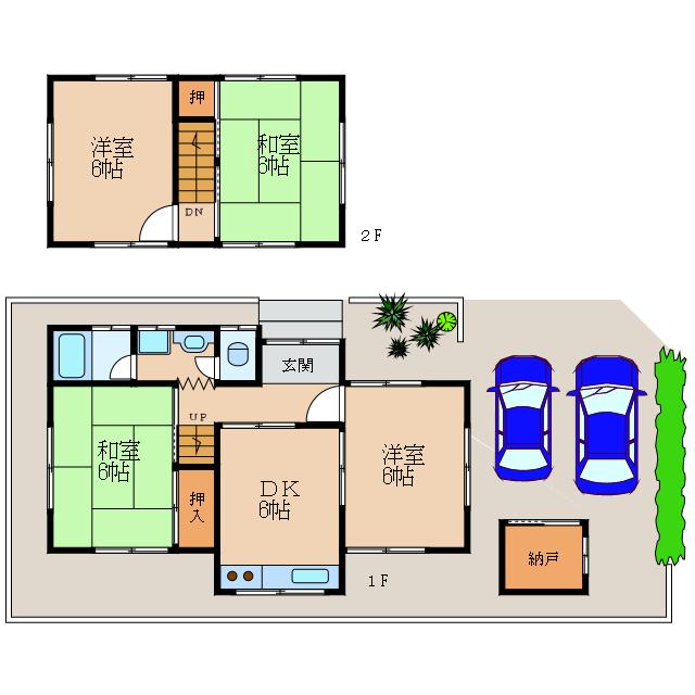 長浜駅徒歩2分の好立地。2台駐車可(無料)。全室南向き。