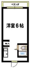 スカイコート姫路 1Kの間取り