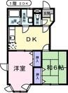 セレ-ノ山東A 2DKの間取り
