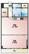 大阪メトロ御堂筋線/なんば駅 徒歩15分 4階 築41年 1LDKの間取り