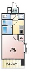 大阪メトロ御堂筋線/大国町駅 徒歩7分 8階 築3年 1Kの間取り