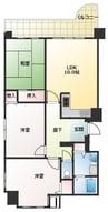 大和路線・関西本線/JR難波駅 徒歩11分 3階 築30年 3LDKの間取り