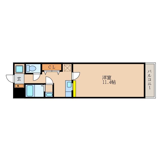 ゆとりの洋室1Kです。