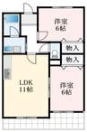 泉北高速鉄道/泉ケ丘駅 徒歩10分 3階 築26年 2LDKの間取り