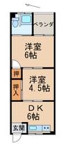 南海加太線/東松江駅 徒歩4分 1階 築43年 2DKの間取り